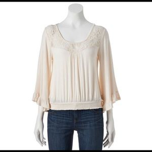 Bell Sleeve M Top Lace Yoke Scoop Neck Back Straps